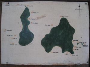 Karta över dykplatser kring Perhentians