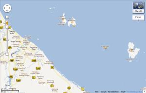 Karta över Perhentians, Lang Tengah och Redang